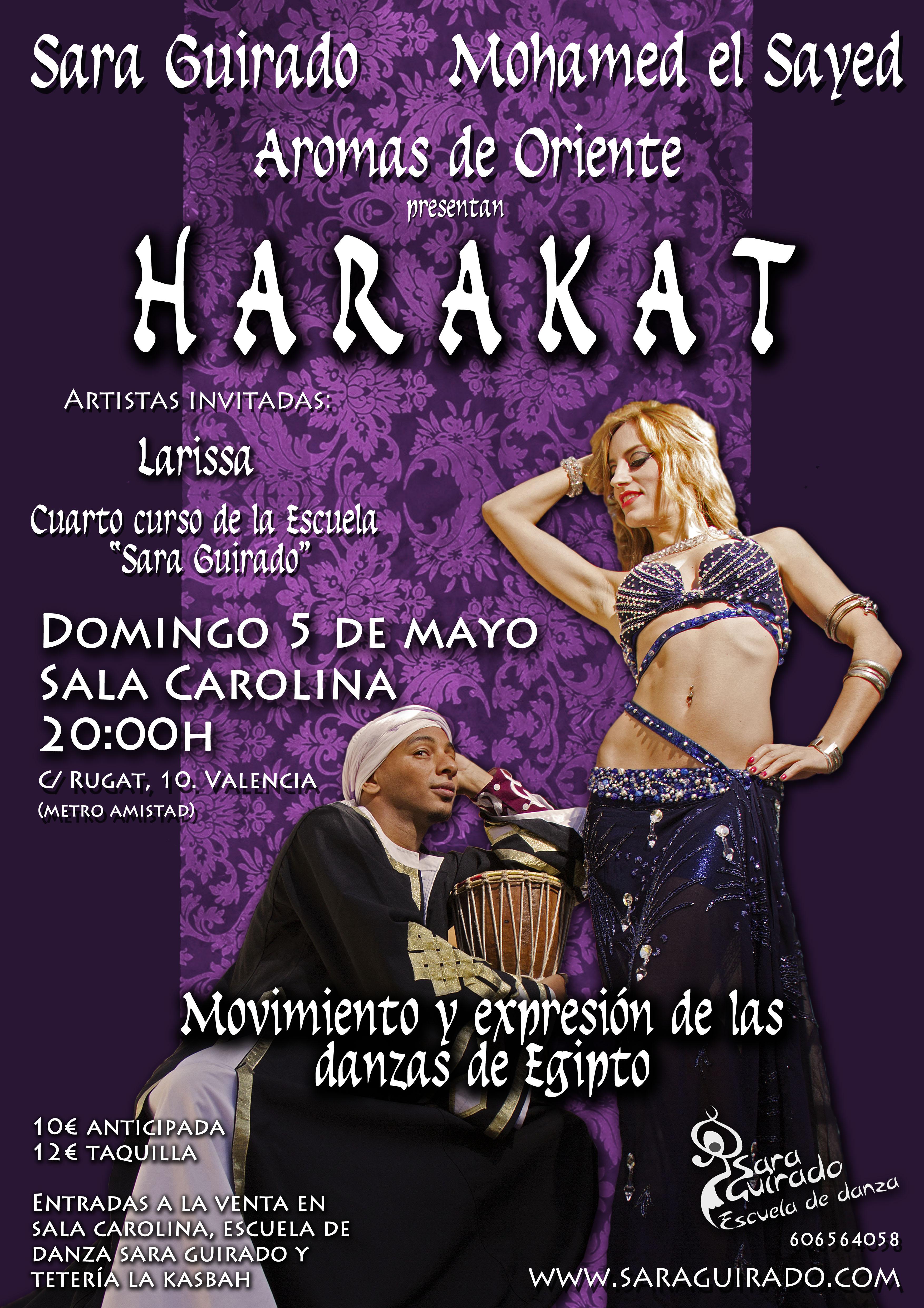 Festival danza oriental con Sara Guirado y Mohamed El Sayed en Aromas de Orienta HARAKAT 5 mayo 2013 Valencia