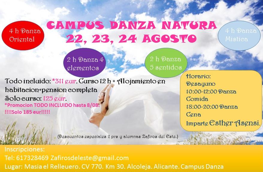 Talleres de danza día 16 y Campus Danza Natura 22,23 y 24 de Agosto en Alicante